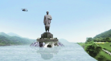 artist's impression of proposed world's largest statue of sardar patel at sardar sarovar dam site